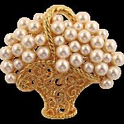 Napier Brooch - Basket of Imitation Pearls