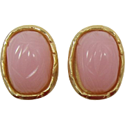 Signed Givenchy Pink and Gold-tone Scarab Earrings