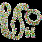 Fun Bright Plastic Hong Kong Necklace, Bracelet and Dangling Earrings