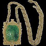 Signed Vendome Oriental Pendant Necklace - Book Piece