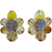 Hattie Carnegie Yellow and AB Beaded Earrings