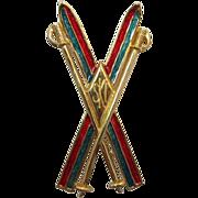 REDUCED Liz Claiborne Crossed Enameled Skis Brooch