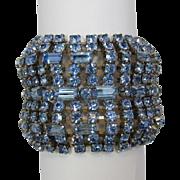Fabulous Wide Light Blue Rhinestone Bracelet