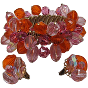 Vogue Pink and Orange Beaded Cha Cha Bracelet and Earrings