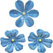 Sandor Blue Enamel Flower Pin and Earrings - Match Huge Enameled Bib