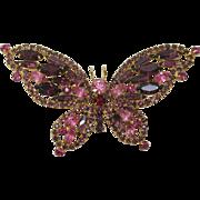 Gorgeous Juliana Wide Pink Rhinestone Butterfly - Book Piece