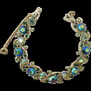 Sparkling Blue AB and Peridot Green Rhinestone Bracelet