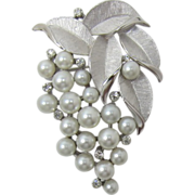 Trifari Imitation Pearl Grapes Pin