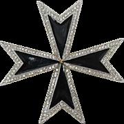 KJL Kenneth Lane Large Black Enameled Maltese Cross Brooch/Pendant