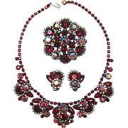 Showstopping D&E Juliana Red Navette Necklace, Brooch and; Earrings