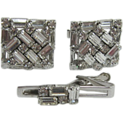 SOLD Senator Clear Baguette and Chaton Cufflinks and Tie Clasp