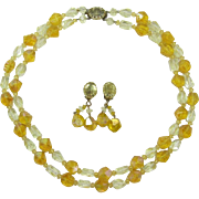 Western Germany Yellow and Topaz Acrylic Necklace and Earring Set