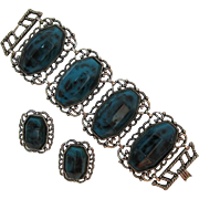 Chunky and Ornate Animal Print Bracelet and Earrings with Huge Dark Teal Insets
