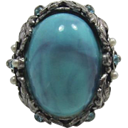 Hard-to-Find Selro Faux Turquoise Domed Confetti Ring