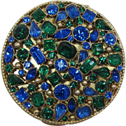 Magnificent Blue and Green Rhinestone Ladies Compact