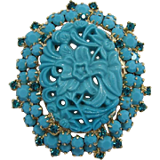 "D&E / Juliana Turquoise ""Carved"" Glass Stone Brooch"