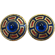 Trifari Red and Blue Enameled Earrings with Huge Blue Cabochon