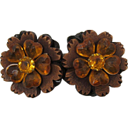 Large Wooden and Topaz Plastic Double Flowers Brooch