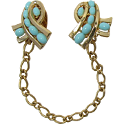 "Trifari ""Tie-Ups"" Faux Light Turquoise Sweater Clips"