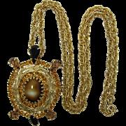 Bright Topaz and Black Rhinestone Turtle Pendant Necklace