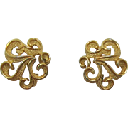 Crown Trifari Gold-tone Scalloped Earrings