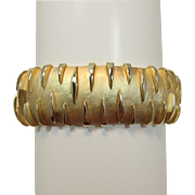 Crown Trifari Gold-tone Wide Modernist Bracelet