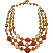 REDUCED Three Strand Swirled Orange and Pink Pearlized Beaded Necklace
