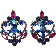 REDUCED Fabulous Thelma Deutsch Blue, Pink and Purple Earrings