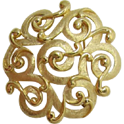 Crown Trifari Gold-tone Scrolled Brooch
