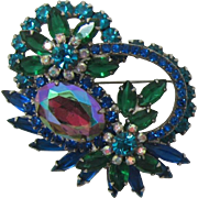 De Lizza and Elster Juliana Teal, Green and Heliotrope Brooch