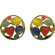 Trifari Bright Pastel Moonglow Cabochon Earrings