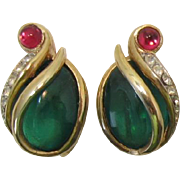 "SOLD Trifari ""Flawed Emerald"" Cabochon Earrings"