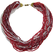 Sparkling Cherry Red and Clear Seed Bead Necklace