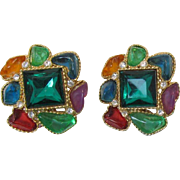 1980's Earrings with Bright Jelly Colored Thermoplastic Insets