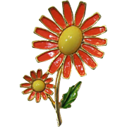 Weiss Coral and Yellow Enameled Flowers Brooch