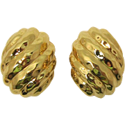REDUCED LAST CHANCE - Ciner Bright High Domed Gold-tone Earrings