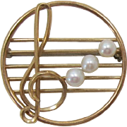 REDUCED LAST CHANCE - Delicate Krementz Treble Clef Musical Note with Cultured Pearls
