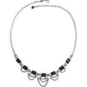 Emerald Green and Clear Rhinestone Necklace