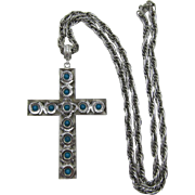 Whiting and Davis Large Modernist Cross Necklace with Imitation Turquoise