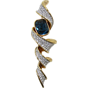 Elegant Swarovski Modernist Brooch with Blue Rhinestone
