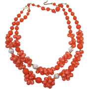 Orange-coral Thermoplastic Sea Shell Necklace signed Western Germany