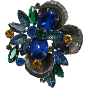 Gorgeous Blue, Green and Topaz Rhinestone Brooch