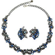 Lisner Necklace and Earrings with Shades of Blue Rhinestones