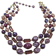 Three Strand Necklace of Purple, Magenta and Rose Pink Beads