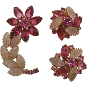 Pink Rhinestone Flower Pin and Earring Set