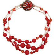 Bright Red and White Beaded Necklace with Beaded Clasp