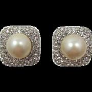 Elegant Ciner Large Imitation Pearl and Clear Rhinestone Earrings