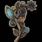 Patricia Locke Modernistic Flower Brooch with Aqua, Purple, Pink Rhinestones