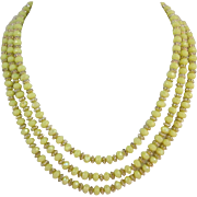 Western Germany Three Strand Yellow and Gold Beaded Necklace