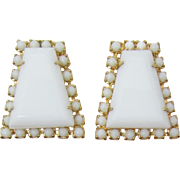 Large White Milk Glass Keystone Shaped Earrings